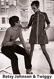 mini dress on Twiggy with Betsy Johnson