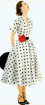 1950's fashion - Women's dresses in polka dot