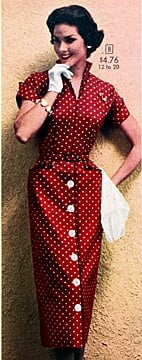 1950s fashion - women's dresses Sears catolog