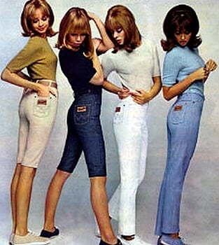 1960s fashion pants and jeans